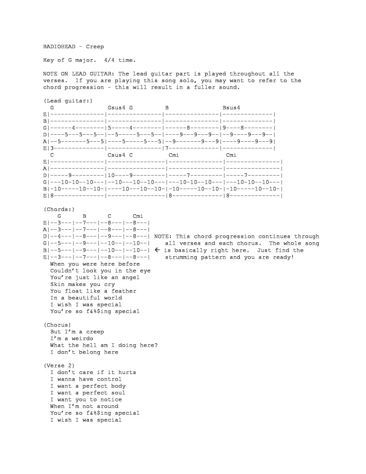 Creep – Guitar tab | STAIRWAY TO HONOLULU