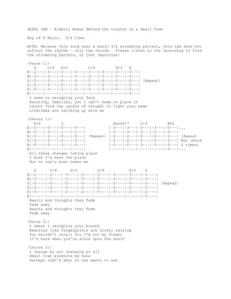 Elderly Woman Behind the Counter in a Small Town – Guitar tab ...